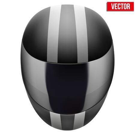 motorradhelm: schwarze Motorrad-Helm mit wei�en Streifen. Sport Vektor-Illustration isoliert auf wei�em Hintergrund.