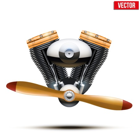 aeronautic: Aircraft engine with propeller  Vector Illustration on white background
