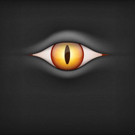 animal eye: Sfondo nero con marrone occhio animale vettore Illustrationisolated su sfondo bianco Vettoriali