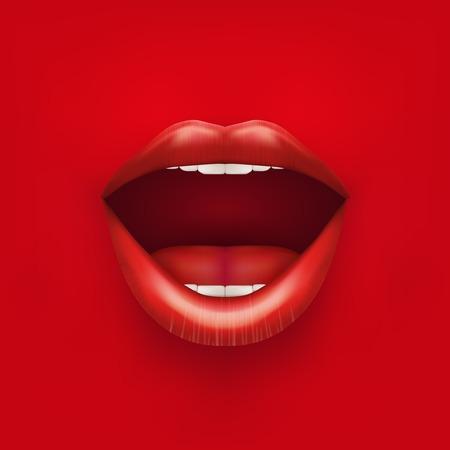 bonito: Antecedentes de Boca de Womans abierta con los labios rojos ilustración vectorial aislados en fondo blanco Vectores