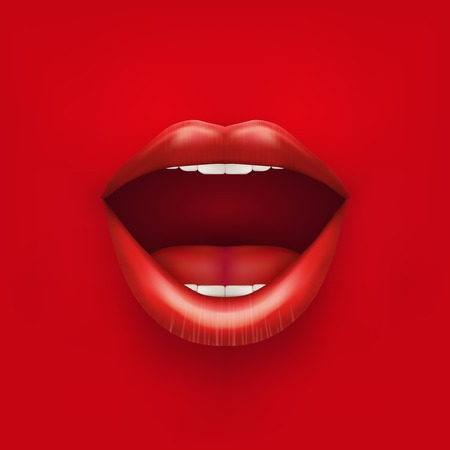 Background of Womans mouth with open red lips  Vector Illustration  Isolated on white background