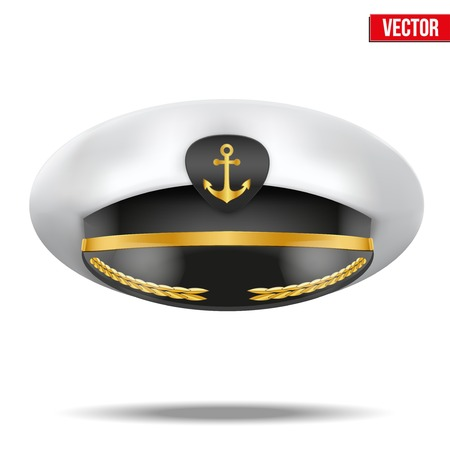 peaked cap: Captain peaked cap with gold anchor on cockade  Vector illustration isolated on white background
