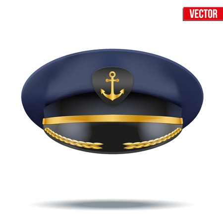 piloting: Captain peaked cap with gold anchor on cockade  Vector illustration isolated on white background