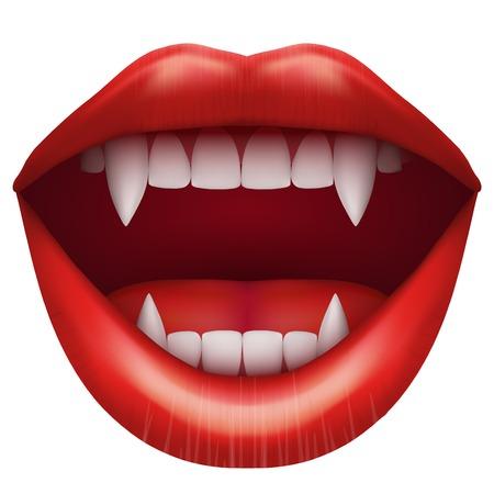 vampier mond met open rode lippen en lange tanden vector illustratie geïsoleerd op witte achtergrond Stock Illustratie