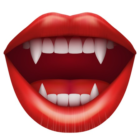vampire mouth with open red lips and long teeth  Vector Illustration Isolated on white background