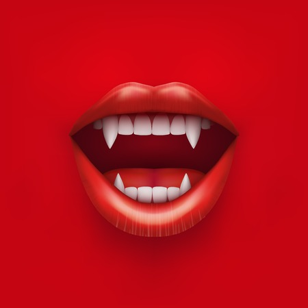 Background of vampire mouth with open red lips and long teeth  Vector Illustration  Isolated on white background  Иллюстрация