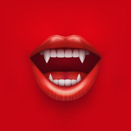 zuby: Pozadí upíří ústa s otevřenými červené rty a dlouhými zuby vektorové ilustrace na bílém pozadí