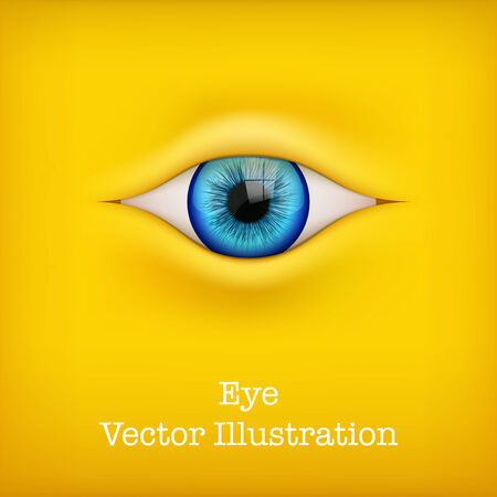 Yellow Background with blue human eye
