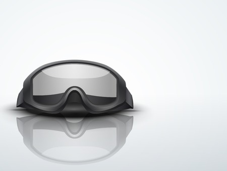 Light Background Black goggles  military or sport symbol of defense