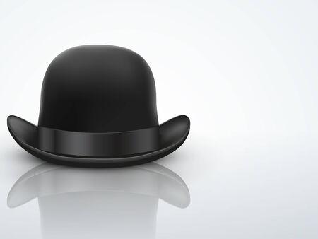 bowler hat: Light Background Black bowler hat with silk ribbon   Illustration