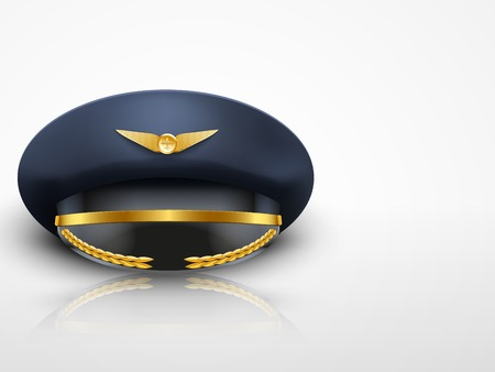 peaked cap: Light Background Aviator Peaked cap of the pilot  Civil aviation and air transport
