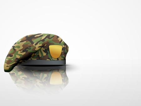 military beret: Light Background Military Beret with camo texture of Army Special Forceswith empty emblem  Editable Vector illustration
