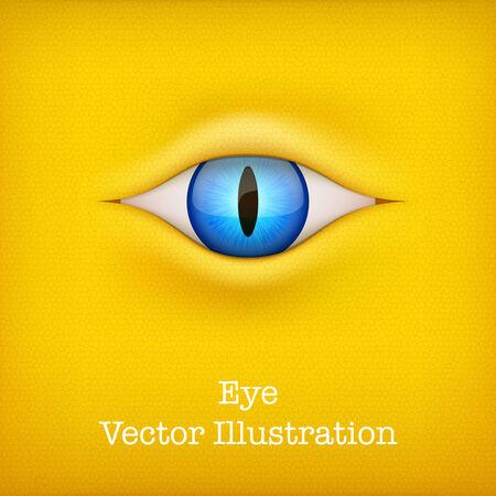 animal eye: Giallo Sfondo blu scuro con animale illustrazione vettoriale occhio isolato su sfondo bianco Vettoriali