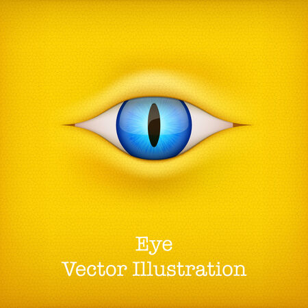 perfect skin: Yellow Dark Background with blue animal eye  Vector Illustration isolated on white background  Illustration