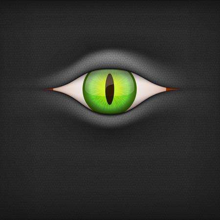 animal eye: Sfondo scuro con animale verde Illustrazione vettoriale occhio isolato su sfondo bianco