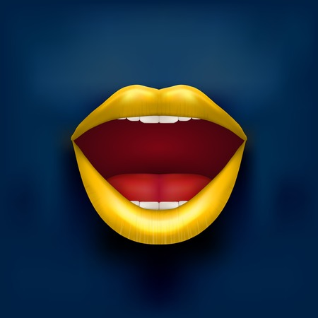 woman mouth open: Dark Background of Womans mouth with open yellow lips  Vector Illustration  Isolated on white background