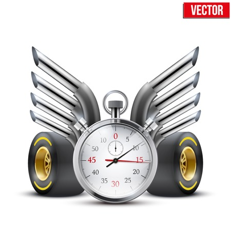 racing wings: Concept banner Car racing and championship  Stopwatch and tubes in form wings  Editable Vector Illustration