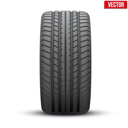 grand prix: Realistic rubber tire symbol  Front view  Vector Illustration isolated on white background
