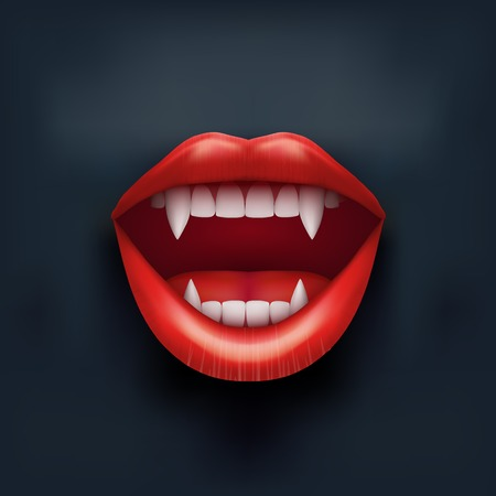 Dark Background of vampire mouth with open red lips and long teeth  Vector Illustration  Isolated on white background  Illustration