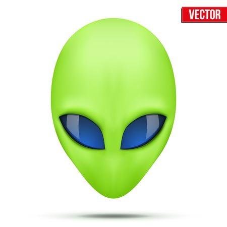 Criatura extranjera verde cabeza de otro mundo ilustración vectorial aislados en fondo blanco