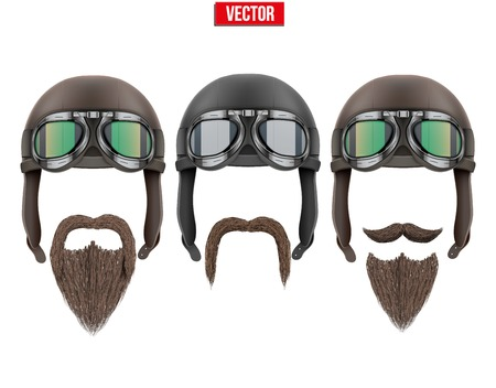 Set of motorcyclist with a beard and moustaches  Vector Illustration isolated on white