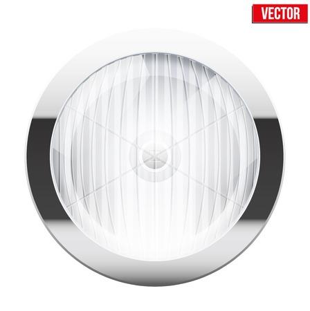 Round car headlight  Vintage Vector Illustration isolated on white background
