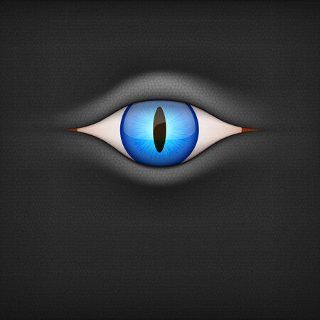 perfect skin: Dark Background with blue animal eye  Vector Illustration isolated on white background