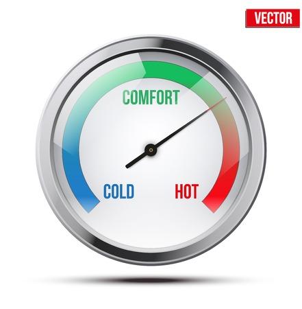 tr�sten: Indikator Meter Komfort zwischen Kalt-und Warm Vektor-Illustration auf wei�em Hintergrund Illustration