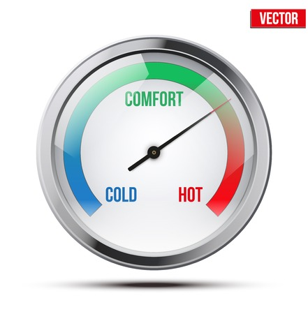 Indicator meter of comfort between cold and hot  Vector Illustration on white background