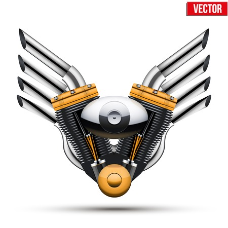 Motorcycle engine with metal wings of tailpipe  Vector Illustration Isolated on white background