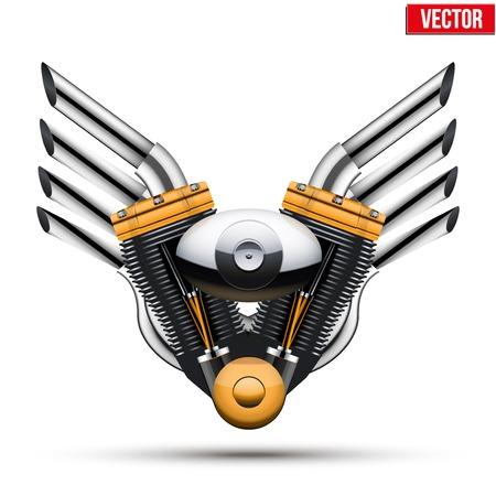 cromo: Motor de la motocicleta con las alas met�licas del tubo de escape Ilustraci�n vectorial aislados en fondo blanco