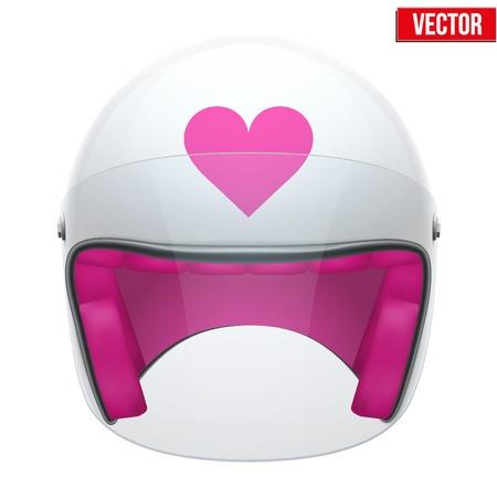 casco moto: Rosa femenino de la motocicleta del casco con la ilustración de vidrio visor vectorial sobre fondo blanco