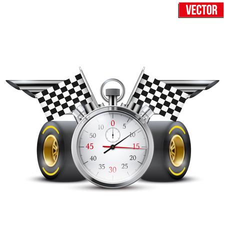 概念バナー車のレースとチャンピオンシップ ストップウォッチと編集可能なベクター グラフィックの翼を形成の管