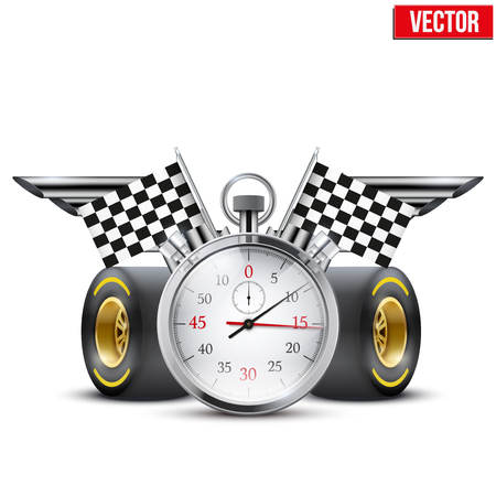Concept banner Car racing and championship  Stopwatch and tubes in form wings  Editable Vector Illustration