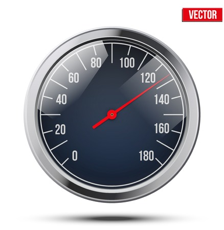 metalic design: Classic round scale Speedometer  Vector Illustration isolated on white background