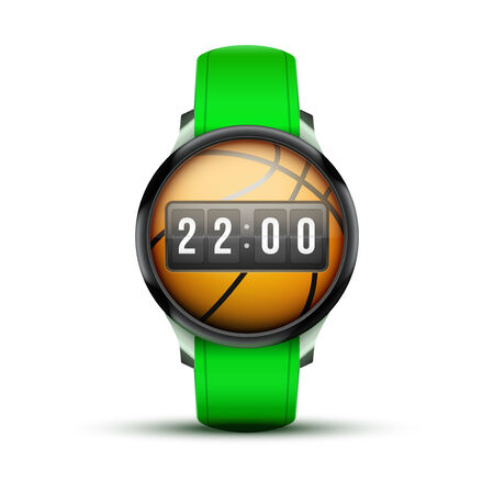 Sport Smart watch with time and basketball ball  Vector Illustration isolated on white background Vector