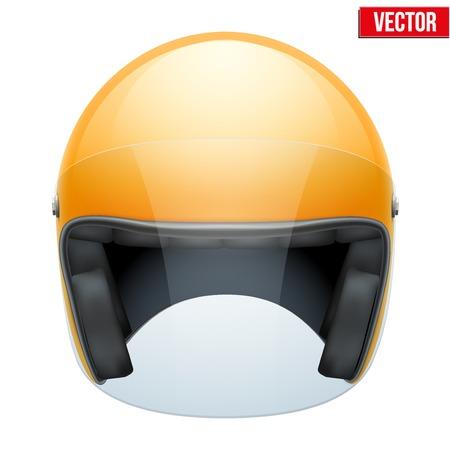 Orange motorbike classic helmet with clear glass visor  Vector illustration isolated on white background, Vector