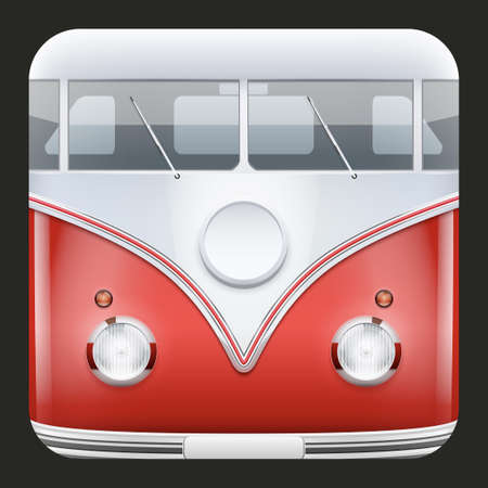 Square Icon Popular hippie bus classic Camper Van  Vector Illustration  Vector