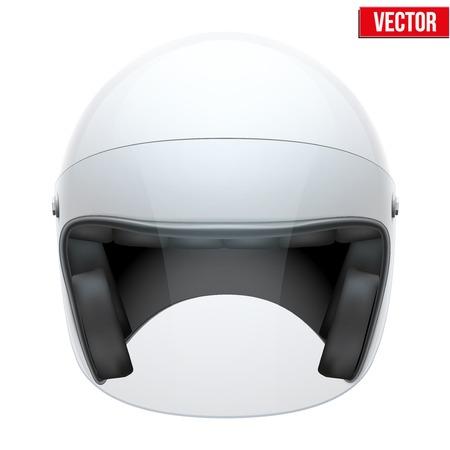 visor: White motorbike classic helmet with clear glass visor  Vector illustration isolated on white background,