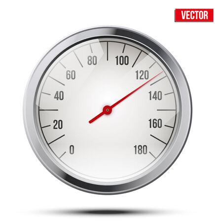 Classic round scale Speedometer Vector Illustration isolated on white background