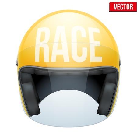 helmet moto: Alta calidad casco de moto con Race inscripci�n en la ilustraci�n vectorial frente aislado en fondo blanco