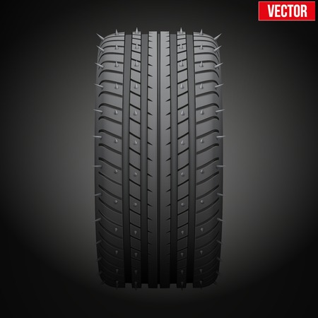 Winter tires with metal spikes  Realistic vector illustration isolated on dark background Vector