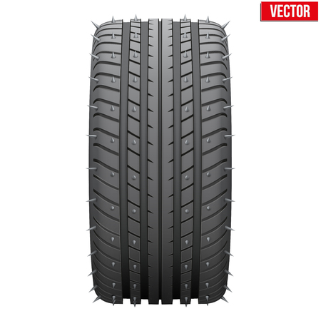 vulcanization: Winter tires with metal spikes  Realistic vector illustration isolated on white background