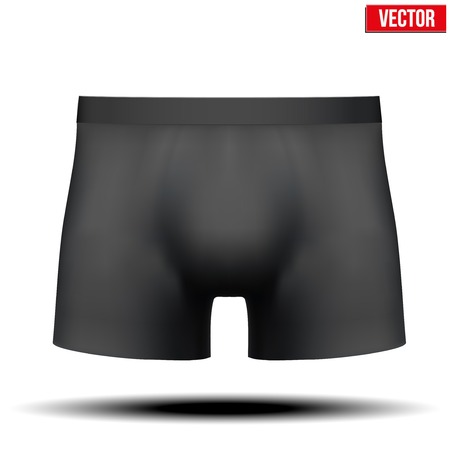 underpants: Realistic layout of Male black underpants brief. A template simple example. Editable Vector Illustration isolated on white background.