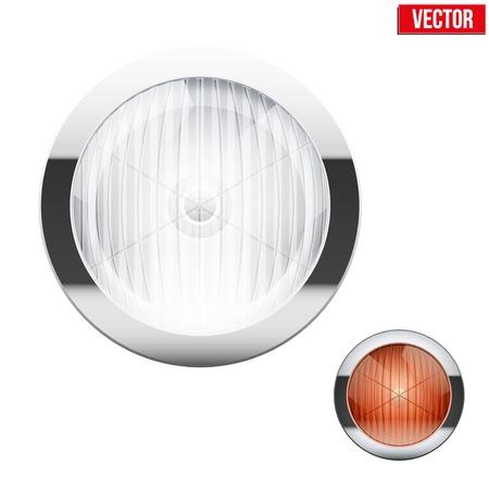 Round car headlight and turn indicator. Vintage Vector Illustration isolated on white background.