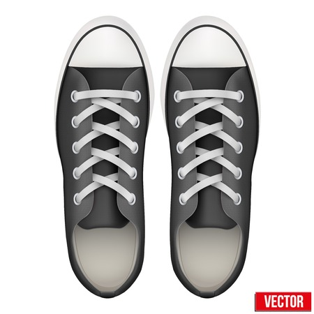 Pair of simple sneakers. Example gumshoes. Realistic Editable Vector Illustration isolated on white background.
