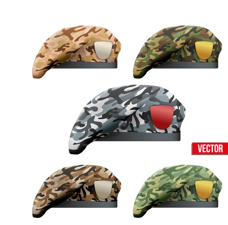 Set of Military Beret with camo texture of Army Special Forces. Vector Illustration Isolated on white background.