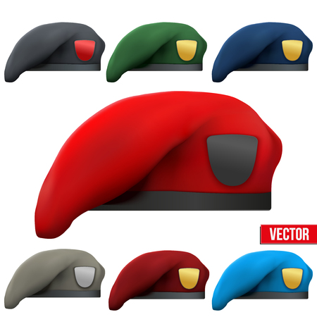 military uniform: Set of Military colorful Berets of Army Special Forces with empty emblems. Vector Illustration. Isolated on white background.
