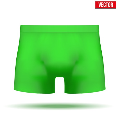 underpants: Realistic layout of Male green underpants brief. A template simple example. Editable Vector Illustration isolated on white background. Illustration