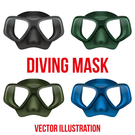 yellow adventure: Set of Front view of Underwater diving scuba mask. Water leisure. Vector Illustration Isolated on white background Illustration